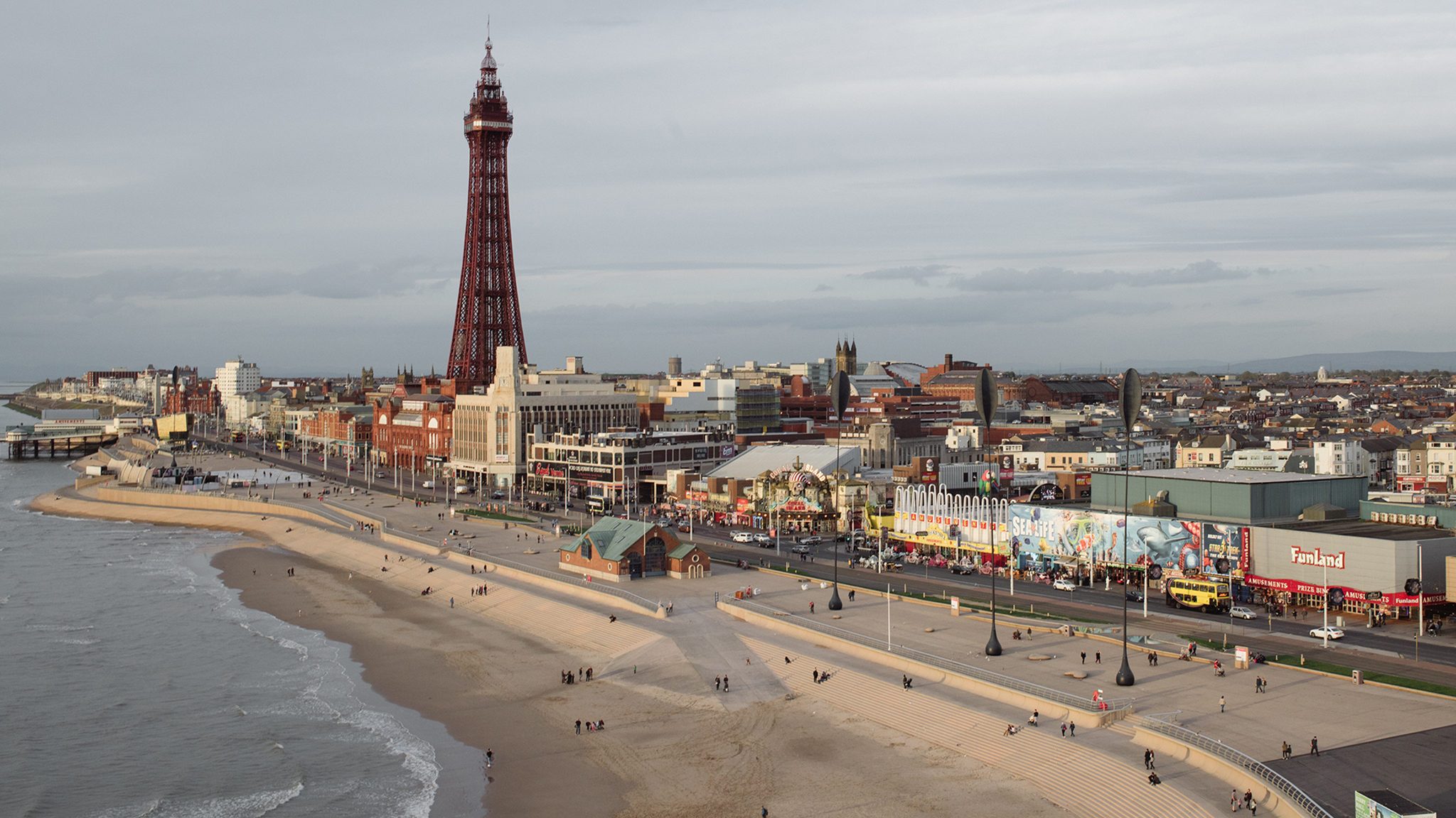 Aerial shot of blackpool tower and beach