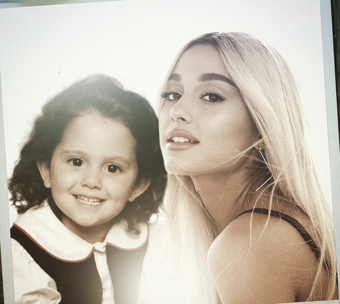 celebs with younger selves - ariana grande