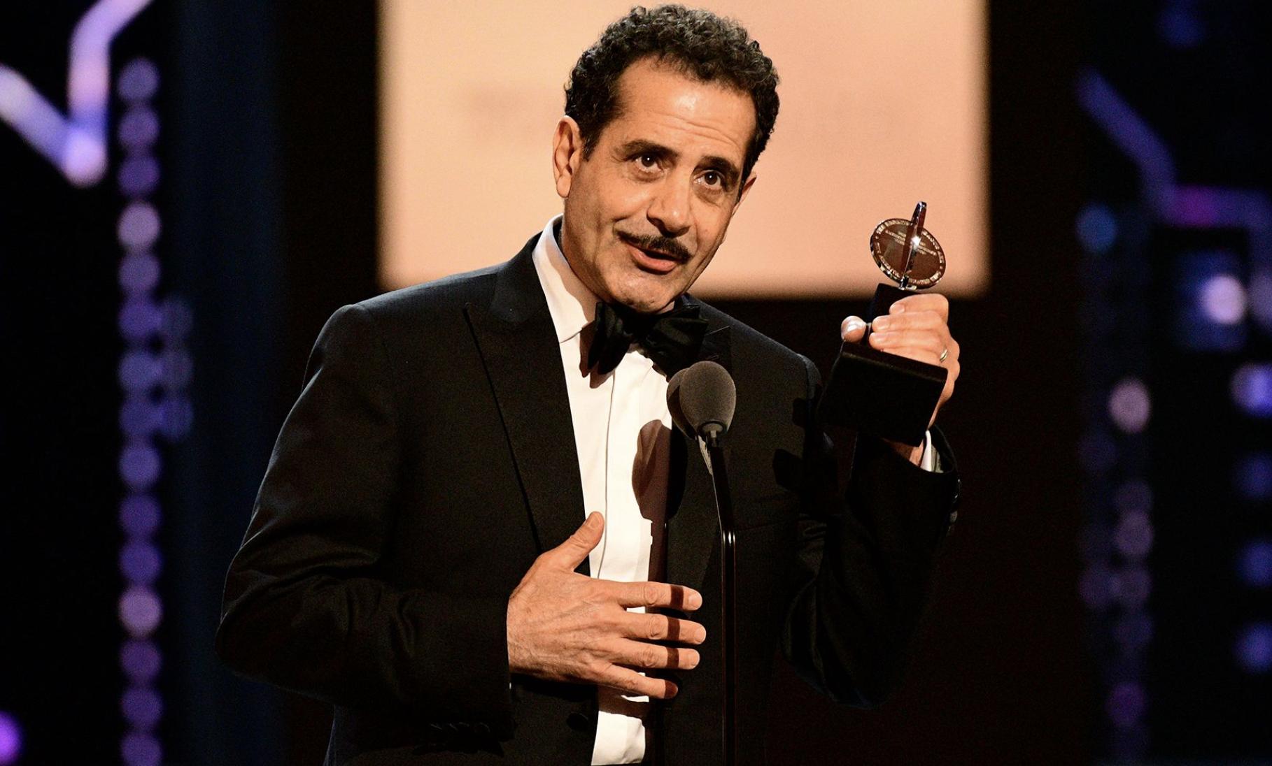 Tony Shalhoub winning his first Tony award in 2017
