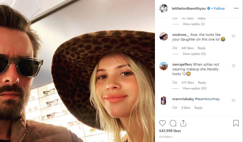 Sofia Richie & Scott Disick age gap Instagram snap