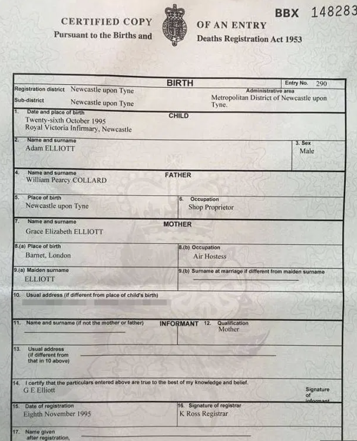 adam collard age birth certificate