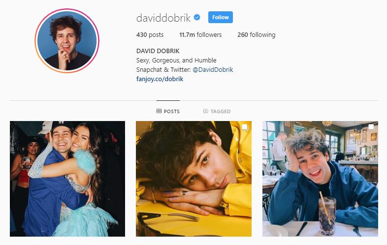David Dobrik instagram