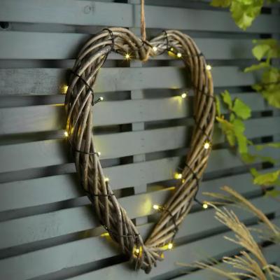 Argos garden lights Home Solar LED Wicker Heart Light