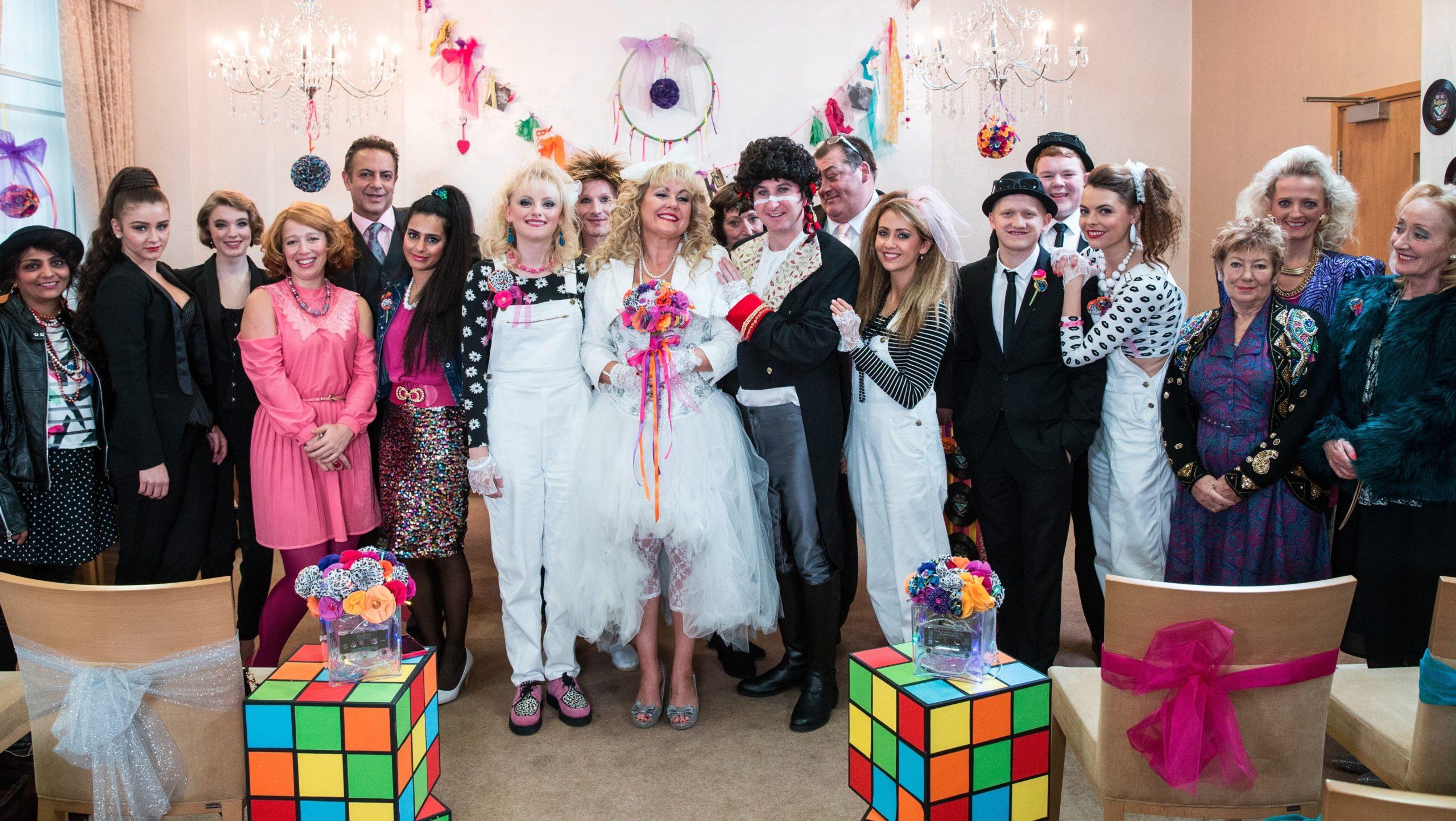 kirk and beth 80s themed wedding coronation street